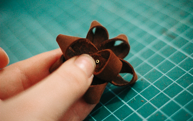 leather christmas bow from scrap leather